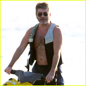 Simon Cowell Rides the Waves While Shirtless in Barbados!