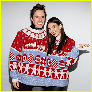 Victoria Justice & Reeve Carney Couple Up in the Together Sweater at Just Jared's Holiday Party!