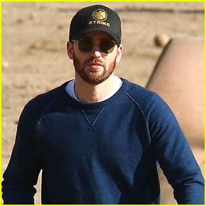 Chris Evans Spends His Day Off at the Dog Park