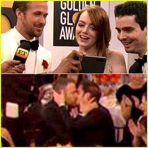 VIDEO: Emma Stone Reacts to Andrew Garfield's Kiss with Ryan Reynolds at Golden Globes 2017!
