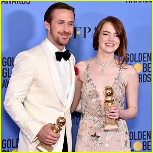 Emma Stone & Ryan Gosling Were So Cute in the Golden Globes Winners Room!