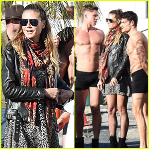 Heidi Klum is Surrounded by Shirtless Guys While Filming 'Germany's Next Top Model'!