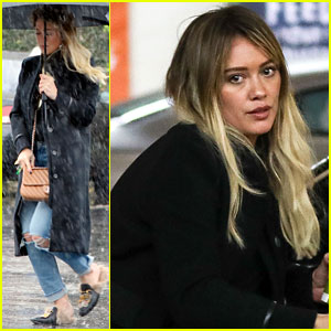 Hilary Duff Shields Herself From Intense Los Angeles Downpour!