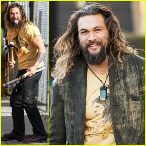 VIDEO: Jason Momoa Shows Off His Axe Throwing Skills On 'Jimmy Kimmel Live'!