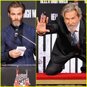 Jeff Bridges Gets Support From Chris Pine at Hollywood Hand Print Ceremony