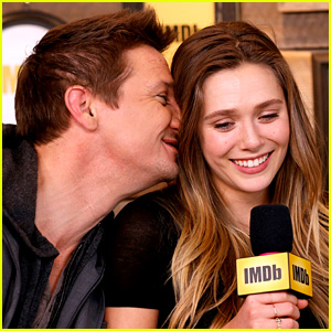 Jeremy Renner Gives Elizabeth Olsen a Friendly Kiss During Sundance Interview