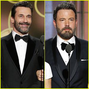 Jon Hamm & Ben Affleck Show Off Their Sexy Beards at Golden Globes 2017!