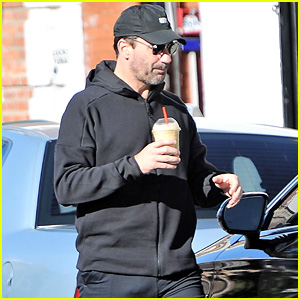 Jon Hamm Steps Out in Sweats with Anna Osceola