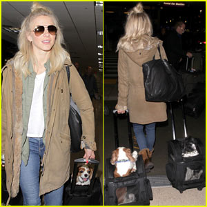 Julianne Hough Makes Her Way Through LAX with Her Pups!