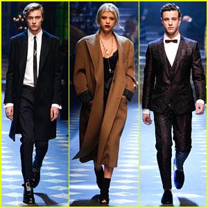Lucky Blue Smith, Sofia Richie, & Cameron Dallas Walk Doce&Gabbana Milan Runway