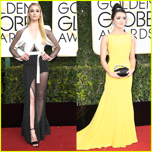 Game of Thrones' Sophie Turner Goes Sheer For Golden Globes with Maisie Williams