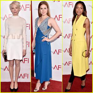 Michelle Williams, Amy Adams, & Naomie Harris Celebrate Their Films at AFI Awards
