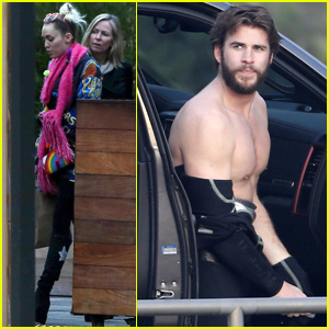 Miley Cyrus & Liam Hemsworth Meet For Dinner After Surfing Session