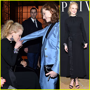 Oscar Nominee Nicole Kidman Kisses Fellow Nominee Isabelle Huppert's Hand at Armani Show!