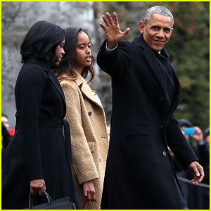 President Obama Heads to Farewell Address with Michelle & Malia By His Side