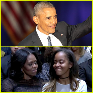VIDEO: President Obama Praises Michelle, Malia, & Sasha During His Farewell Address