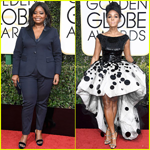 Hidden Figures' Octavia Spencer Rocks a Tuxedo at Golden Globes 2017 with Janelle Monae