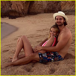 Patrick Schwarzenegger & Abby Champion Cuddle on the Beach Together