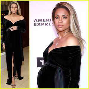 Pregnant Ciara Cradles Baby Bump at Harper's Bazaar Party!