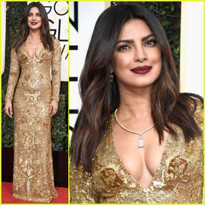 Priyanka Chopra Glitters in Gold at Golden Globes 2017