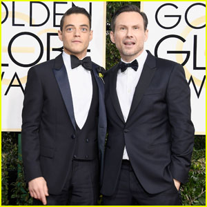 Rami Malek & Christian Slater Hit Golden Globes 2017 Red Carpet Together