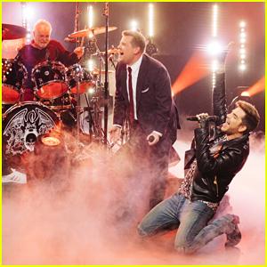 Adam Lambert & James Corden Battle It Out In Queen Frontman Sing-Off - Watch Here!