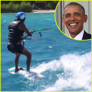 Barack Obama Wipes Out While Kitesurfing with Richard Branson (Video)