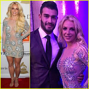 Britney Spears Brought Boyfriend Sam Asghari to Clive Davis' Pre-Grammys 2017 Gala!