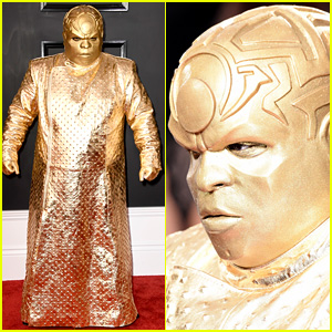 Ceelo Green Introduces Gnarly Davidson To Grammys 2017 With All Gold Costume 2017 Grammys Cee Lo Green Grammys Just Jared