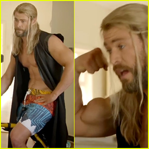 Chris Hemsworth Goes Shirtless, Flexes Muscles in New 'Thor' Mockumentary!