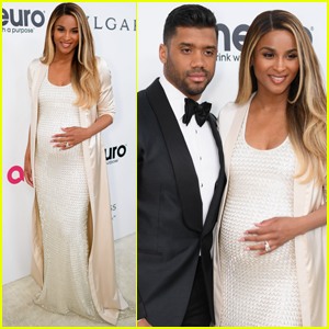 Ciara Shows Off Her Baby Bump With Russell Wilson at Elton John Oscars Party!