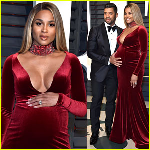 Pregnant Ciara Glows in Velvet Gown at Vanity Fair Oscars Party