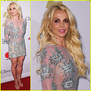 Britney Spears Sparkles in Sheer at Clive Davis' Pre-Grammy Party
