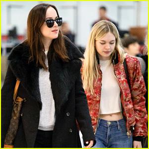 Dakota Johnson Flies Out of London with Sister Stella Banderas