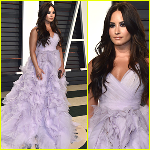 Demi Lovato Stuns in Ball Gown Made For A Queen at Vanity Fair's Oscar Party