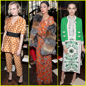 Diane Kruger, Shay Mitchell & Camilla Belle Sit Front Row at Tory Burch Show
