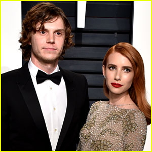 Emma Roberts & Fiance Evan Peters Look Totally in Love at Vanity Fair Oscars Party 2017