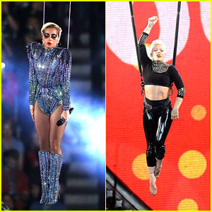 Lady Gaga Channels Her Inner Pink for Spectacular Super Bowl 2017 Halftime Trapeze Performance