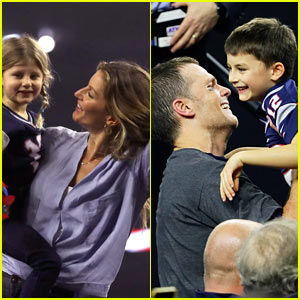 Gisele Bundchen & Kids Celebrate Tom Brady's Super Bowl Win on Field!