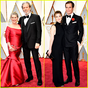 Nominees Jeff Bridges & Michael Shannon Walk Oscars Red Carpet with Their Wives