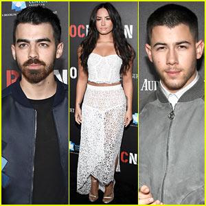 Joe Jonas Joins Brother Nick & Demi Lovato at Roc Nation's Pre-Grammy Brunch