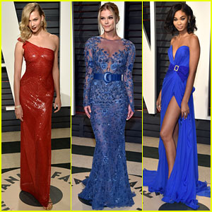 Karlie Kloss, Nina Agdal & Chanel Iman Go Glam for Vanity Fair's Oscar Party