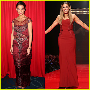 Katie Holmes Models Marchesa for Red Dress Fashion Show