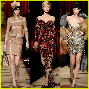 Kendall Jenner Channels Old-School Glamour Alongside Hadid Sisters in Moschino Show