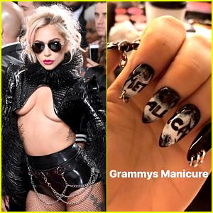 Lady Gaga's Grammys Manicure Featured Piercings & Metallica!