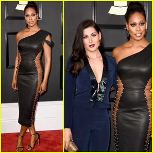 Laverne Cox & Trace Lysette Step Out at Grammys 2017