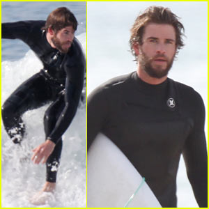 Liam Hemsworth Flaunts His Toned Wetsuit Bod While Surfing - See His Wipeout Pic!