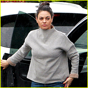 Mila Kunis Braves the Rainy Weather in L.A.