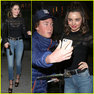 Miranda Kerr Stops For Fans After Dinner at Catch LA