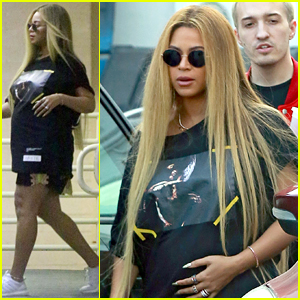 Pregnant Beyonce Cradles Baby Bump During Casual Outing